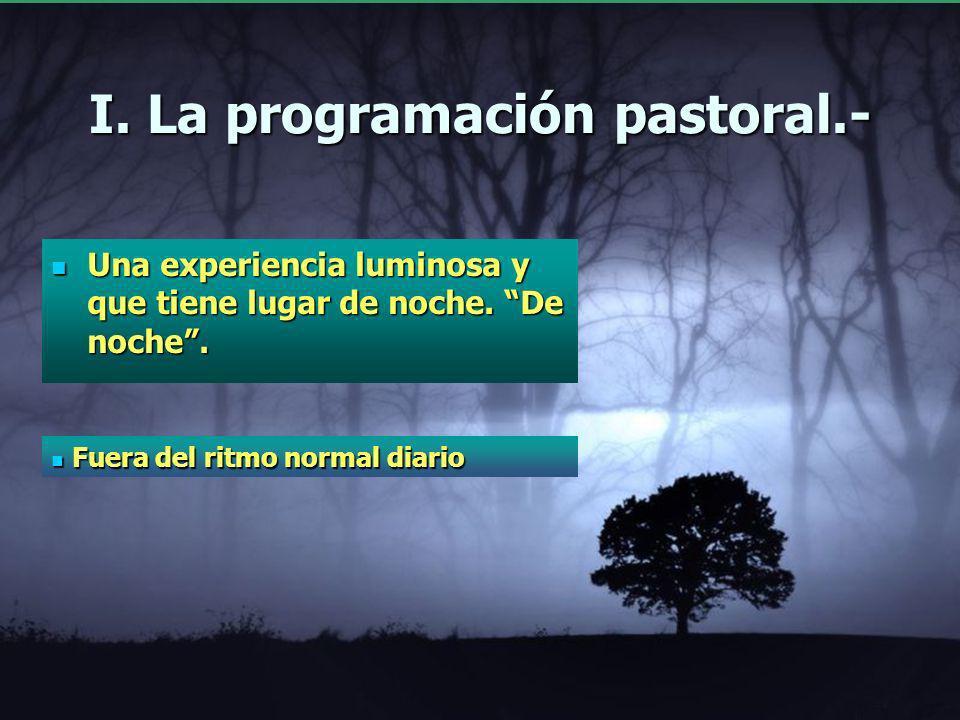 I. La programación pastoral.- Una experiencia luminosay que tiene lugar de noche. De noche. Una experiencia luminosa y que tiene lugar de noche. De no