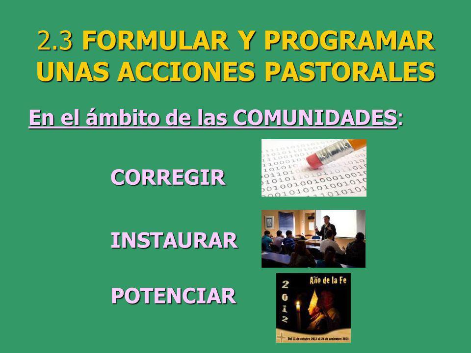2.3 FORMULAR Y PROGRAMAR UNAS ACCIONES PASTORALES En el ámbito de las COMUNIDADES: CORREGIR INSTAURAR POTENCIAR