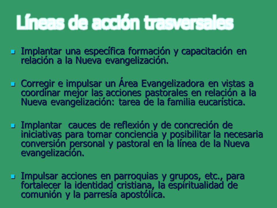 Implantar una específica formación y capacitación en relación a la Nueva evangelización. Implantar una específica formación y capacitación en relación