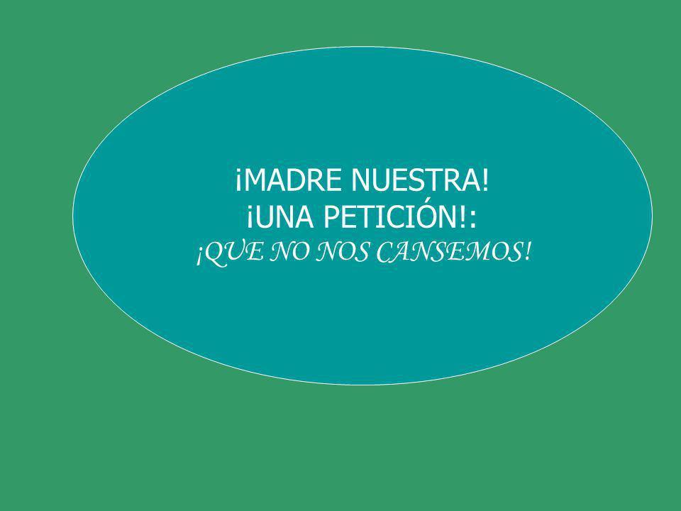 ¡MADRE NUESTRA! ¡UNA PETICIÓN!: ¡QUE NO NOS CANSEMOS!