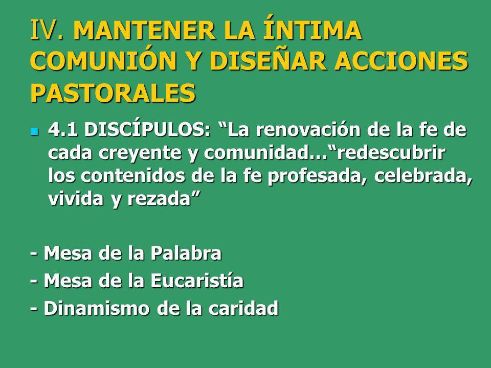 IV. MANTENER LA ÍNTIMA COMUNIÓN Y DISEÑAR ACCIONES PASTORALES 4.1 DISCÍPULOS: La renovación de la fe de cada creyente y comunidad…redescubrir los cont