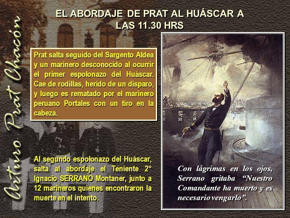 Prat salta seguido del Sargento Aldea y un marinero desconocido al ocurrir el primer espolonazo del Huáscar.