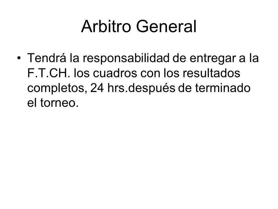 Arbitro General Tendrá la responsabilidad de entregar a la F.T.CH.