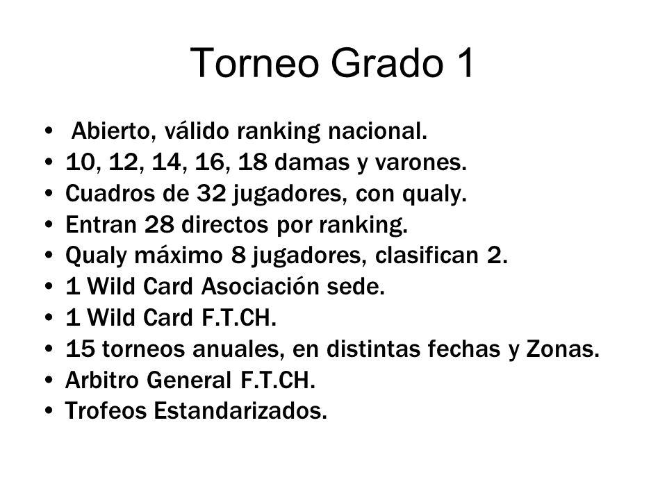 PUNTAJES : POSICION Grado A Grad I Grad o II Grado III Ganador del Torneo 150100808 Vice-Campeón 10080606 Semifinalistas (3 y 4) 8060304 Perdedores en 4 de Final (5 al 8) 6030203 Perdedores en 8 de Final (9 al 16) 3020102 Perdedores en 16 de Final (17 al 32) 201051 Puntajes según ronda alcanzada en el torneo RondaGrado IGrado IIGrado III 4 6040 4 3 30203 2 102 1 51