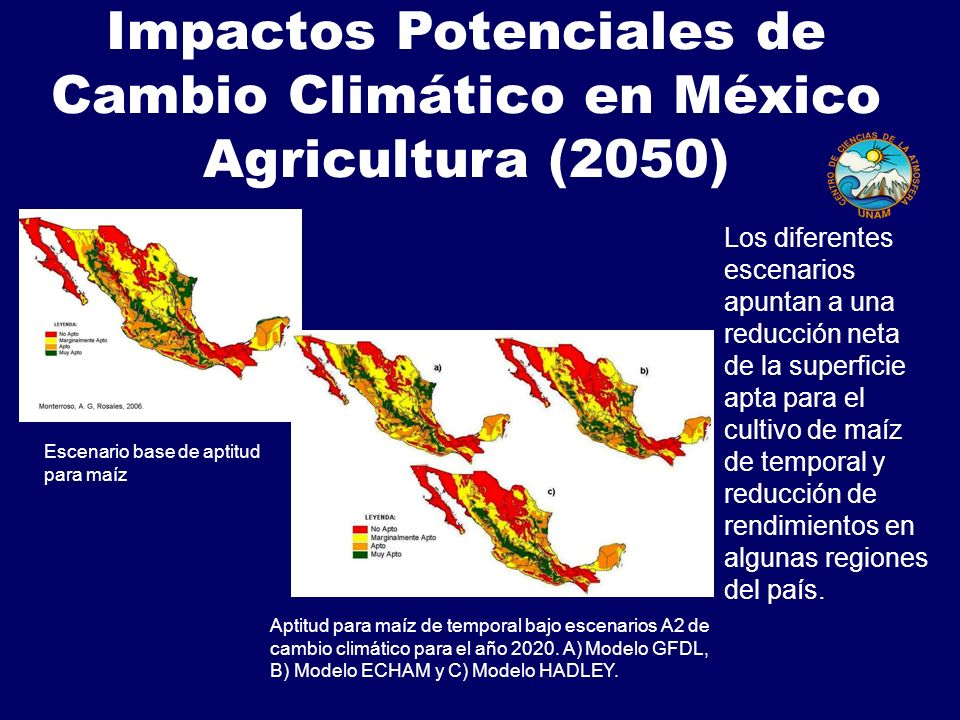 Impactos Potenciales de Cambio Climático en México Agricultura (2050) Aptitud para maíz de temporal bajo escenarios A2 de cambio climático para el año 2020.