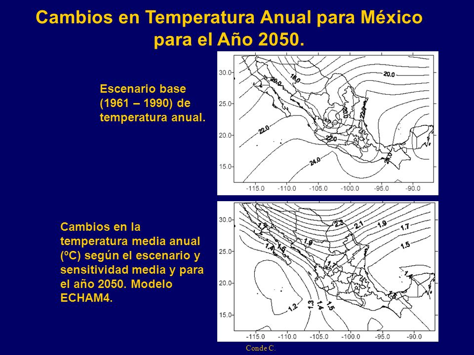 Cambios en Temperatura Anual para México para el Año 2050. Cambios en la temperatura media anual (ºC) según el escenario y sensitividad media y para e