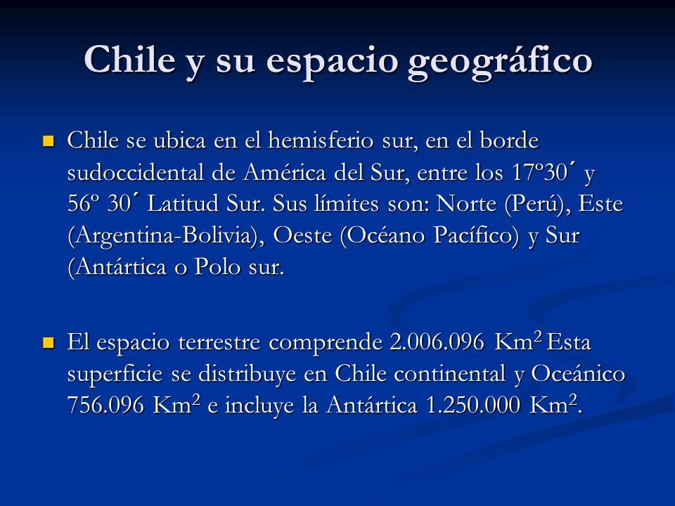 Chile y su espacio geográfico Chile se ubica en el hemisferio sur, en el borde sudoccidental de América del Sur, entre los 17º30´ y 56º 30´ Latitud Su