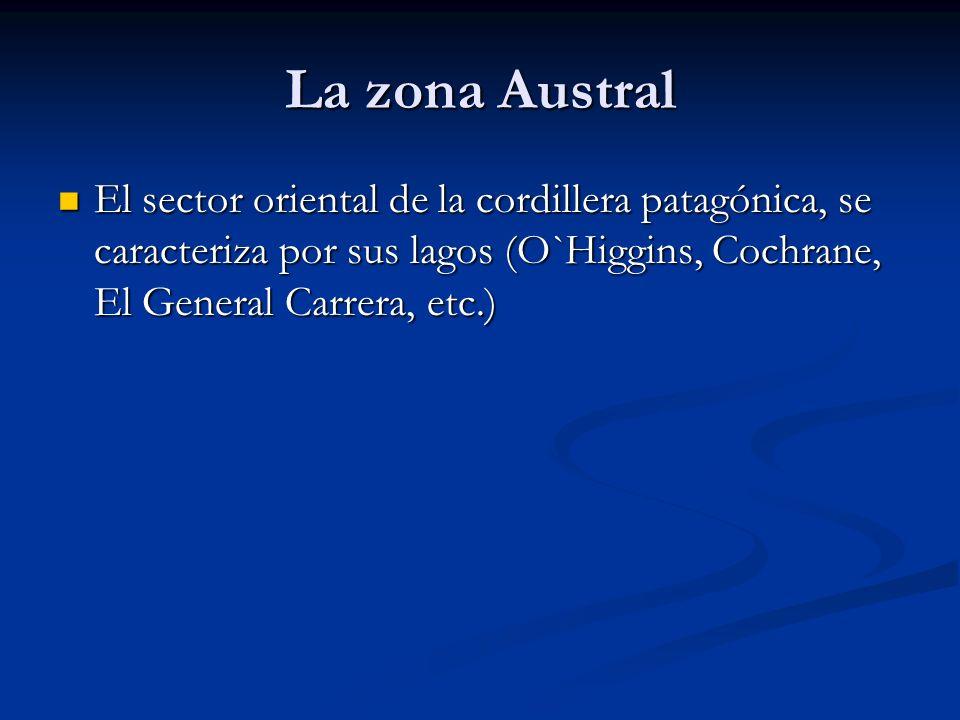 La zona Austral El sector oriental de la cordillera patagónica, se caracteriza por sus lagos (O`Higgins, Cochrane, El General Carrera, etc.) El sector