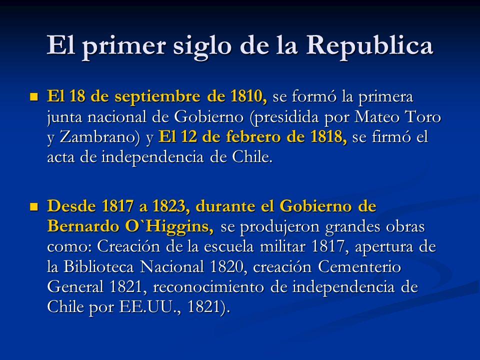 El primer siglo de la Republica El 18 de septiembre de 1810, se formó la primera junta nacional de Gobierno (presidida por Mateo Toro y Zambrano) y El