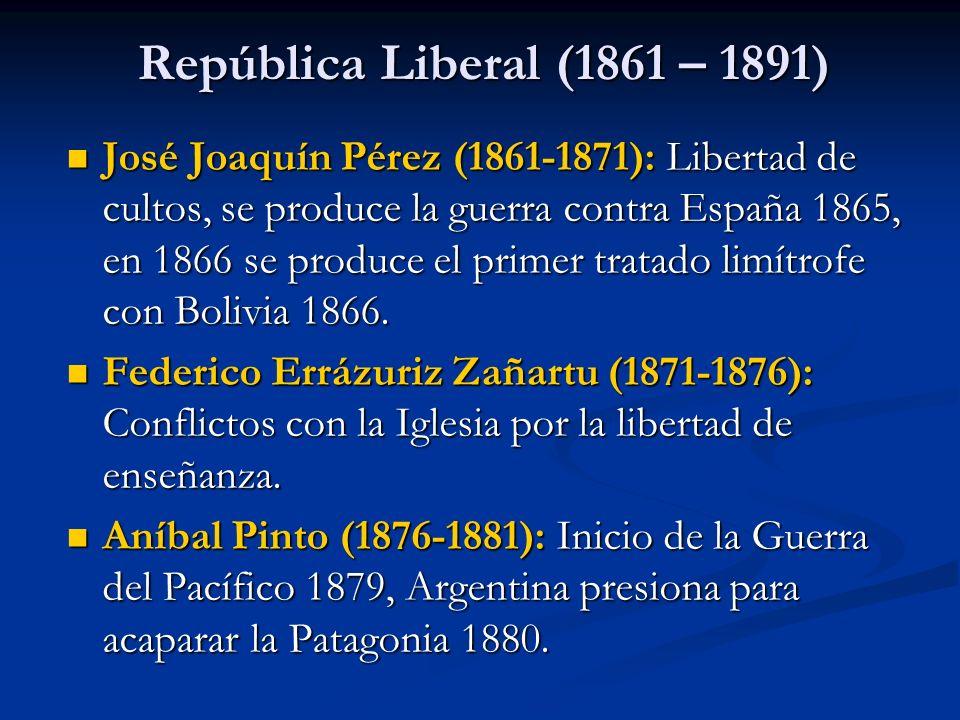 República Liberal (1861 – 1891) José Joaquín Pérez (1861-1871): Libertad de cultos, se produce la guerra contra España 1865, en 1866 se produce el pri