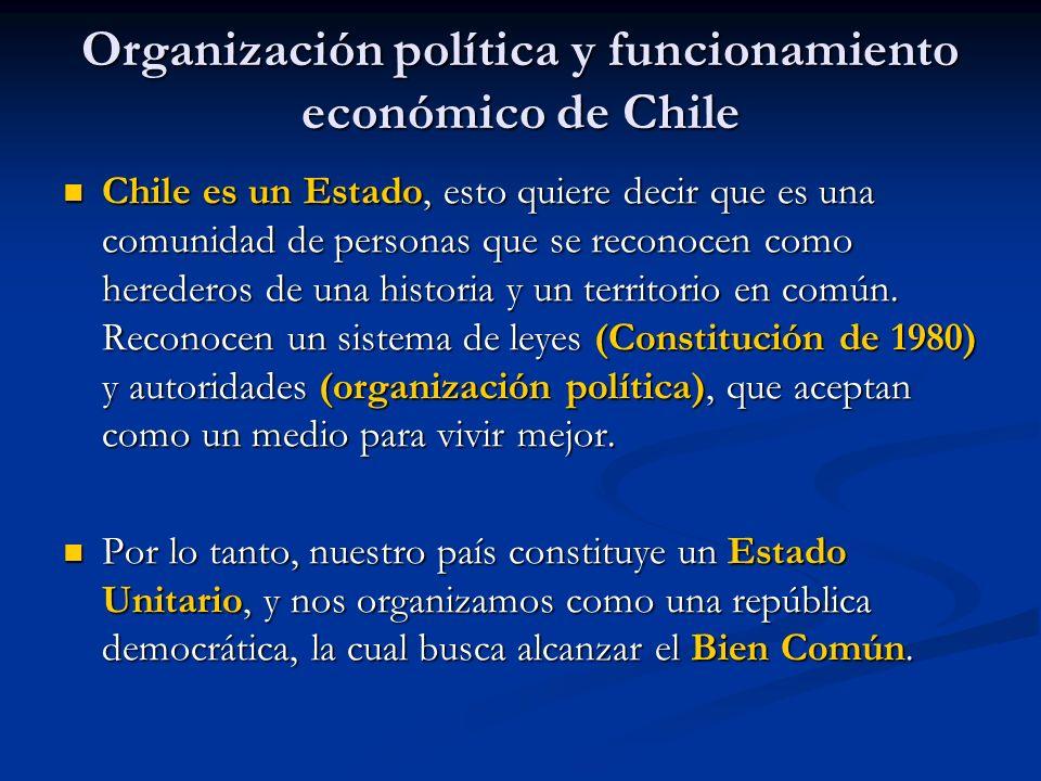 Organización política y funcionamiento económico de Chile Chile es un Estado, esto quiere decir que es una comunidad de personas que se reconocen como