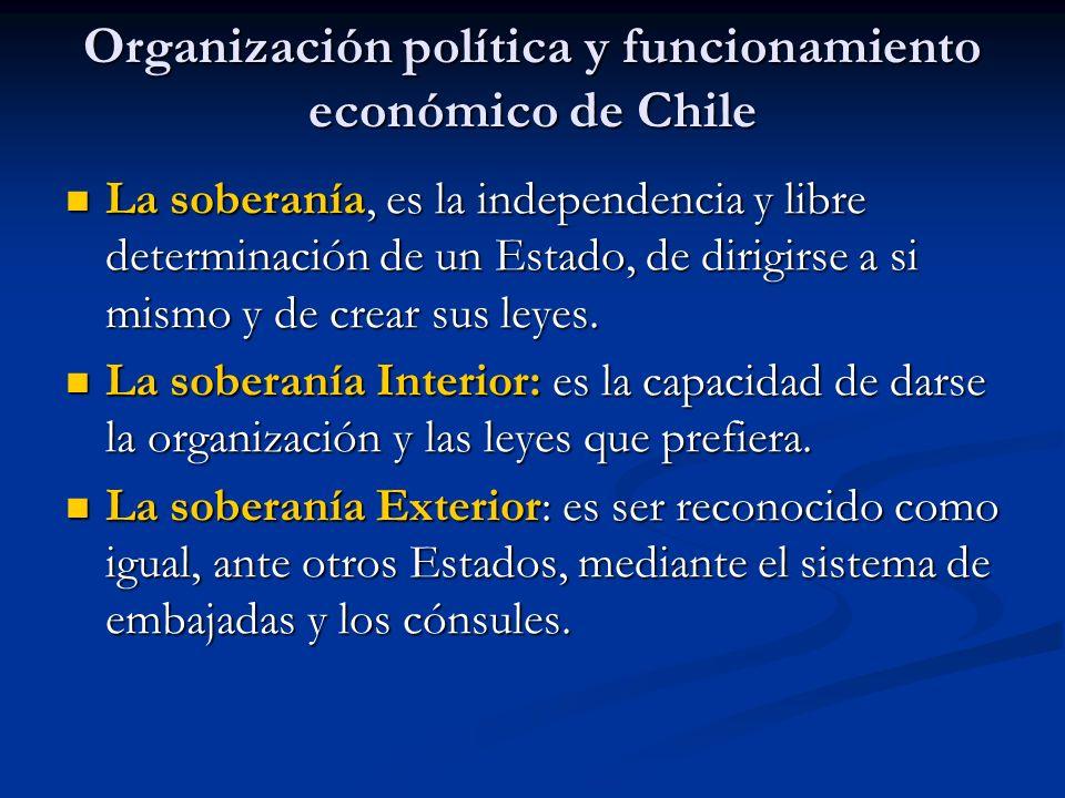 Organización política y funcionamiento económico de Chile La soberanía, es la independencia y libre determinación de un Estado, de dirigirse a si mism