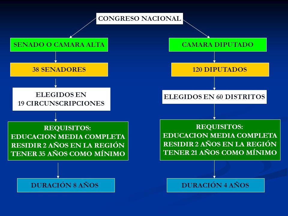 CONGRESO NACIONAL SENADO O CAMARA ALTACAMARA DIPUTADO 38 SENADORES120 DIPUTADOS ELEGIDOS EN 19 CIRCUNSCRIPCIONES ELEGIDOS EN 60 DISTRITOS REQUISITOS: