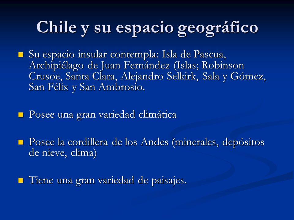 Chile y su espacio geográfico Su espacio insular contempla: Isla de Pascua, Archipiélago de Juan Fernández (Islas; Robinson Crusoe, Santa Clara, Aleja