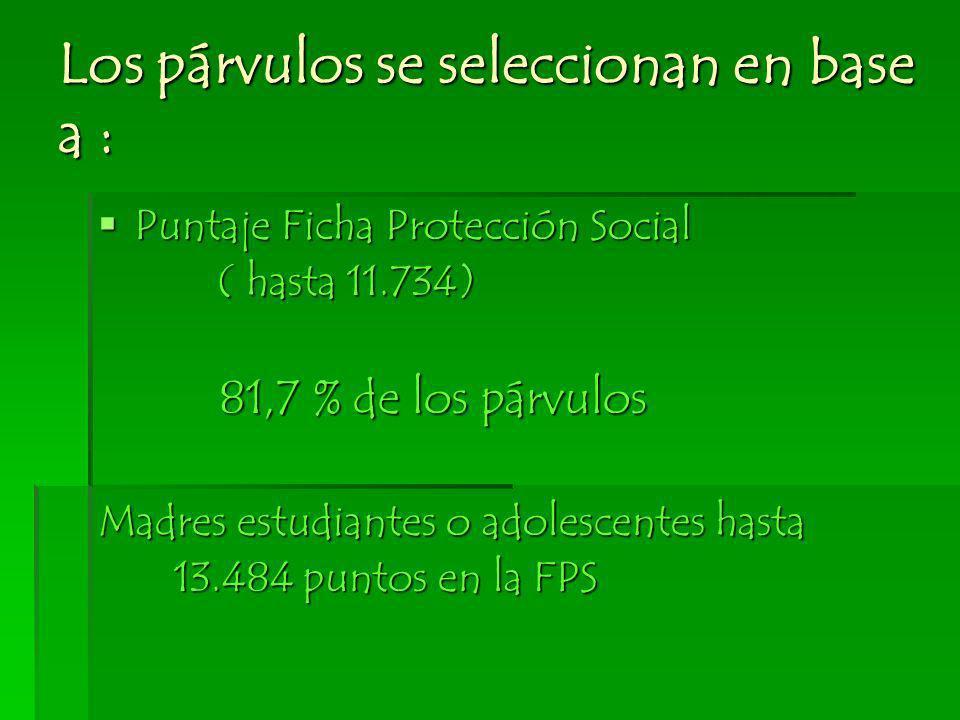 Los párvulos se seleccionan en base a : Puntaje Ficha Protección Social Puntaje Ficha Protección Social ( hasta 11.734) ( hasta 11.734) 81,7 % de los