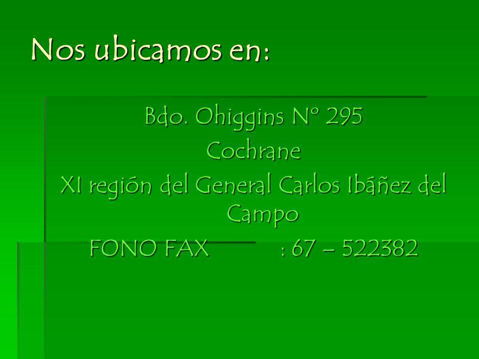 Nos ubicamos en: Bdo. Ohiggins Nº 295 Cochrane XI región del General Carlos Ibáñez del Campo FONO FAX: 67 – 522382
