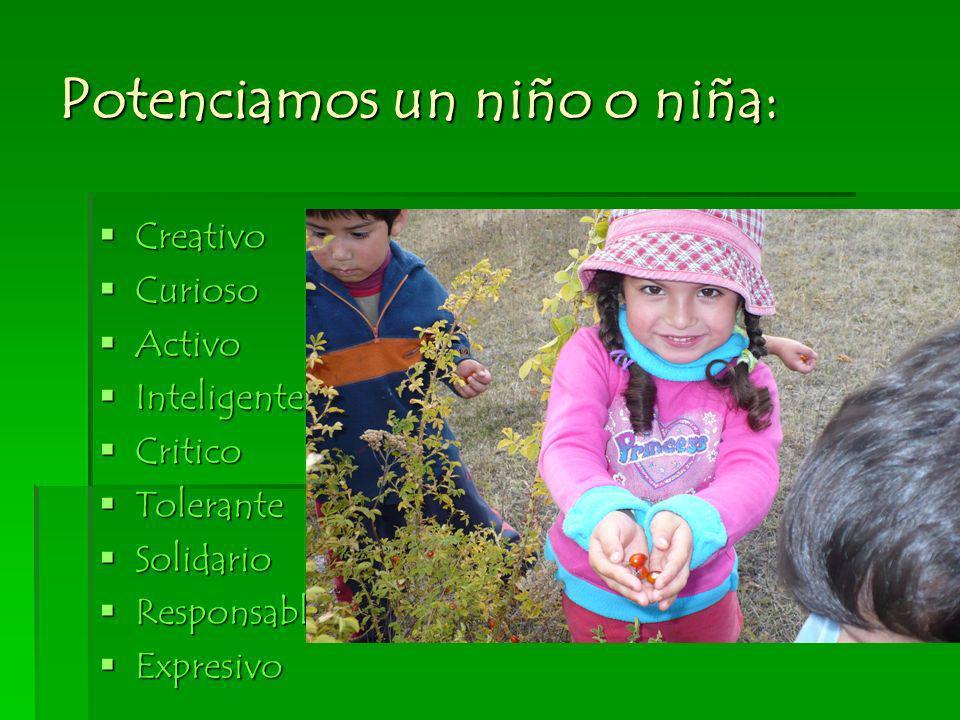 Potenciamos un niño o niña: Creativo Creativo Curioso Curioso Activo Activo Inteligente Inteligente Critico Critico Tolerante Tolerante Solidario Soli