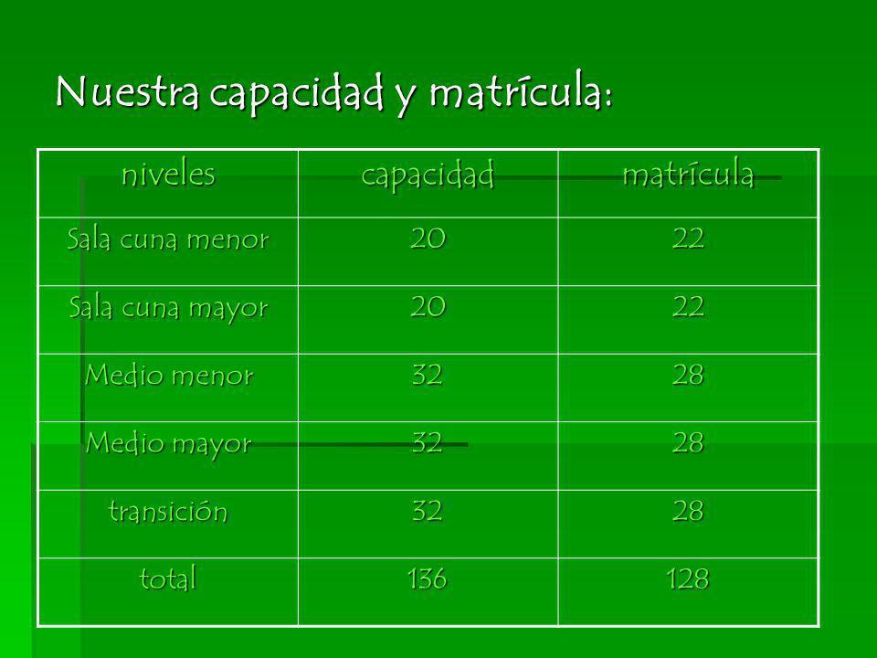 Nuestra capacidad y matrícula: nivelescapacidadmatrícula Sala cuna menor 2022 Sala cuna mayor 2022 Medio menor 3228 Medio mayor 3228 transición3228 to