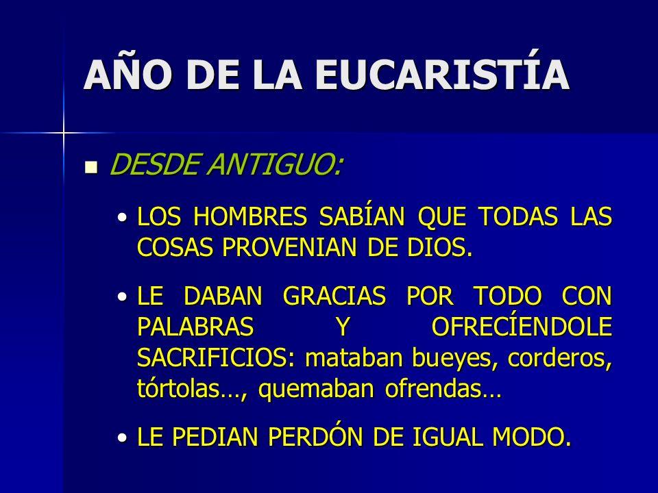 AÑO DE LA EUCARISTÍA DESDE ANTIGUO: DESDE ANTIGUO: LOS HOMBRES SABÍAN QUE TODAS LAS COSAS PROVENIAN DE DIOS.LOS HOMBRES SABÍAN QUE TODAS LAS COSAS PROVENIAN DE DIOS.