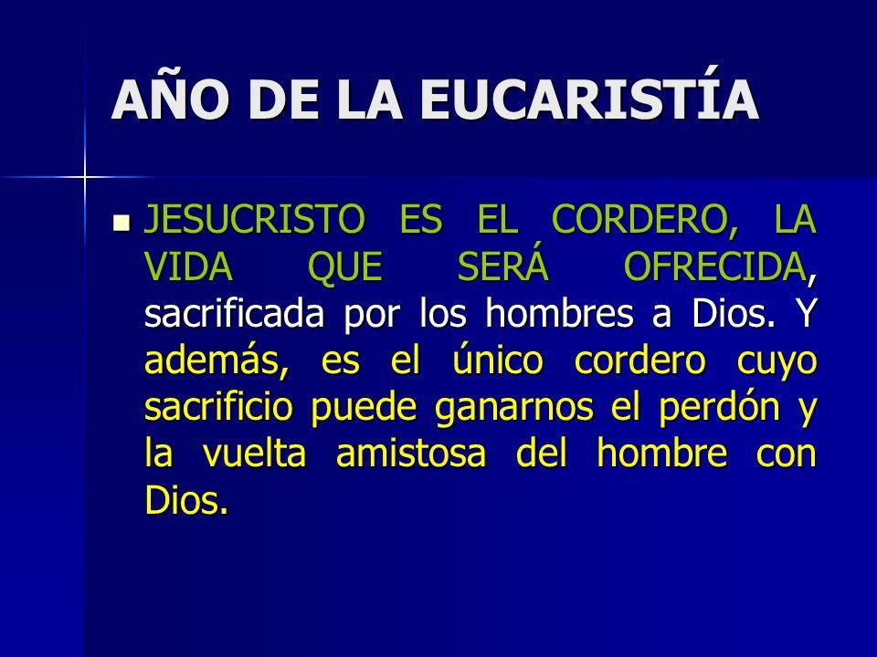 AÑO DE LA EUCARISTÍA JESUCRISTO ES EL CORDERO, LA VIDA QUE SERÁ OFRECIDA, sacrificada por los hombres a Dios.
