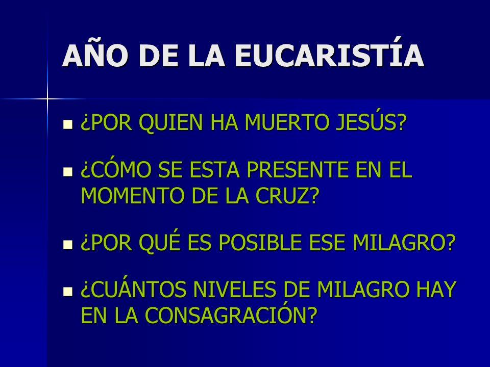 AÑO DE LA EUCARISTÍA ¿POR QUIEN HA MUERTO JESÚS. ¿POR QUIEN HA MUERTO JESÚS.