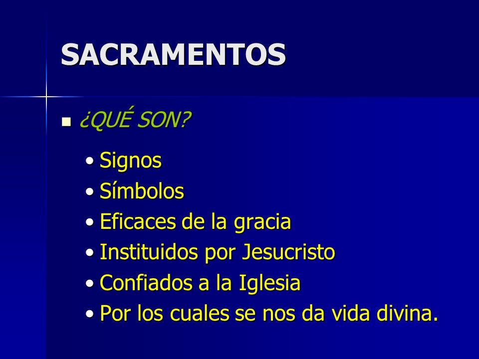 SACRAMENTOS ¿CUÁLES SON?SON 7 ¿CUÁLES SON?SON 7 BAUTISMOBAUTISMO CONFIRMACIÓNCONFIRMACIÓN EUCARISTÍAEUCARISTÍA PENITENCIA (Confesión)PENITENCIA (Confesión) UNCIÓN DE ENFERMOSUNCIÓN DE ENFERMOS ORDEN SAGRADO (Sacerdocio)ORDEN SAGRADO (Sacerdocio) MATRIMONIOMATRIMONIO