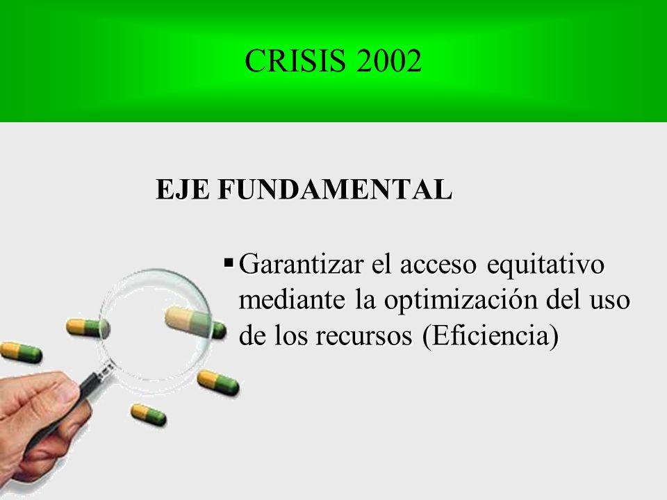 EJE FUNDAMENTAL Garantizar el acceso equitativo mediante la optimización del uso de los recursos (Eficiencia) Garantizar el acceso equitativo mediante la optimización del uso de los recursos (Eficiencia) CRISIS 2002