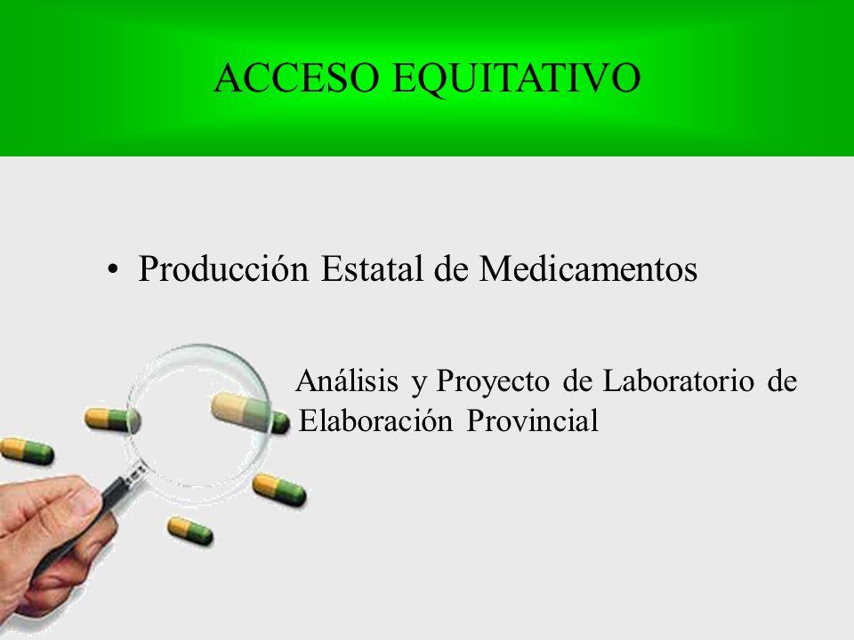 Producción Estatal de Medicamentos Análisis y Proyecto de Laboratorio de Elaboración Provincial ACCESO EQUITATIVO