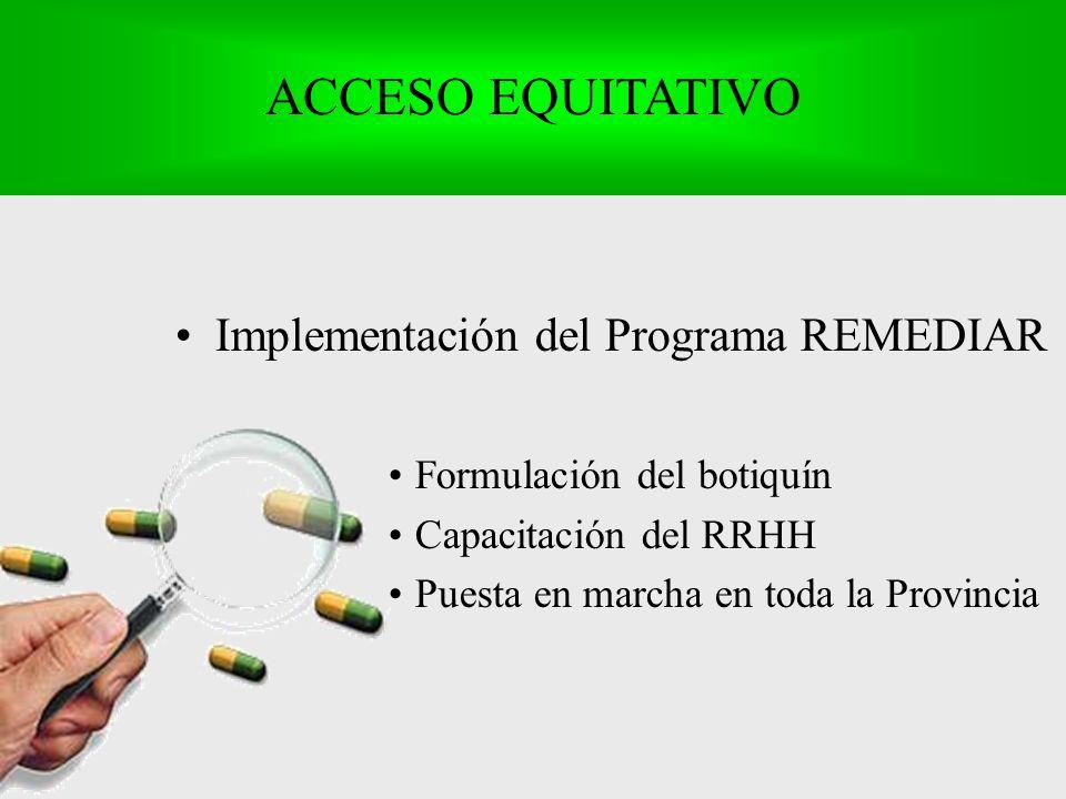 Implementación del Programa REMEDIAR Formulación del botiquín Capacitación del RRHH Puesta en marcha en toda la Provincia ACCESO EQUITATIVO