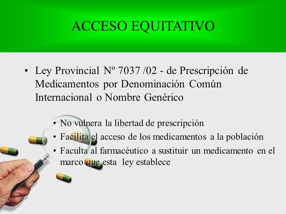 Ley Provincial Nº 7037 /02 - de Prescripción de Medicamentos por Denominación Común Internacional o Nombre GenéricoLey Provincial Nº 7037 /02 - de Prescripción de Medicamentos por Denominación Común Internacional o Nombre Genérico No vulnera la libertad de prescripciónNo vulnera la libertad de prescripción Facilita el acceso de los medicamentos a la poblaciónFacilita el acceso de los medicamentos a la población Faculta al farmacéutico a sustituir un medicamento en el marco que esta ley estableceFaculta al farmacéutico a sustituir un medicamento en el marco que esta ley establece ACCESO EQUITATIVO