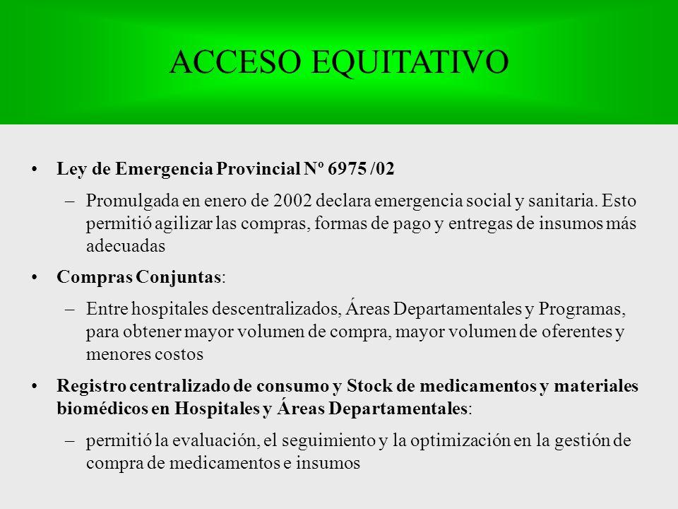 Ley de Emergencia Provincial Nº 6975 /02 –Promulgada en enero de 2002 declara emergencia social y sanitaria.