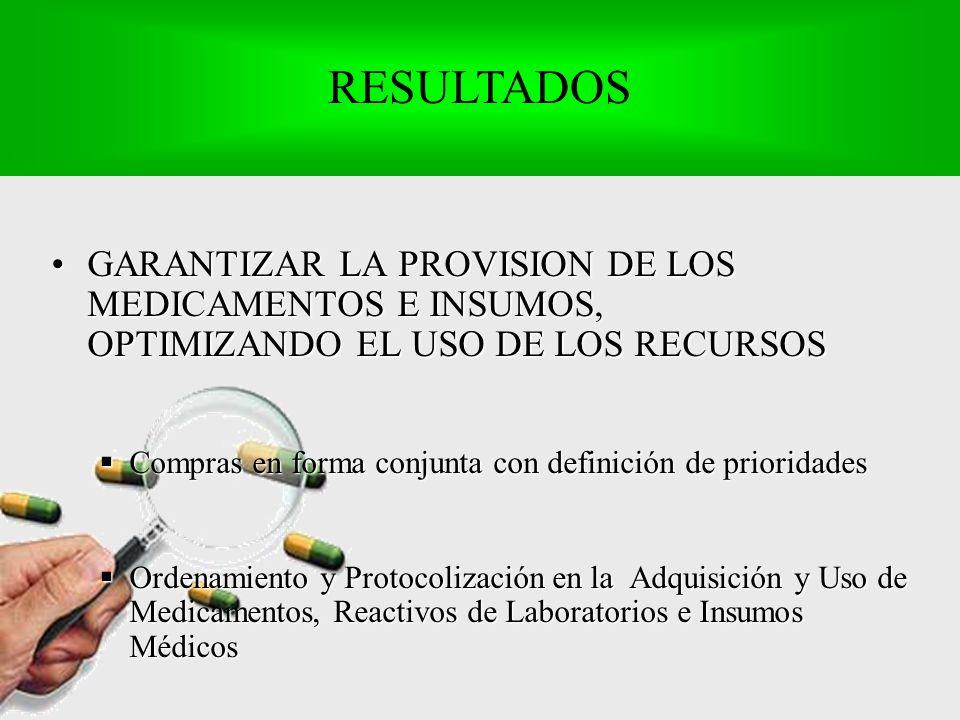 GARANTIZAR LA PROVISION DE LOS MEDICAMENTOS E INSUMOS, OPTIMIZANDO EL USO DE LOS RECURSOSGARANTIZAR LA PROVISION DE LOS MEDICAMENTOS E INSUMOS, OPTIMIZANDO EL USO DE LOS RECURSOS Compras en forma conjunta con definición de prioridades Compras en forma conjunta con definición de prioridades Ordenamiento y Protocolización en la Adquisición y Uso de Medicamentos, Reactivos de Laboratorios e Insumos Médicos Ordenamiento y Protocolización en la Adquisición y Uso de Medicamentos, Reactivos de Laboratorios e Insumos Médicos RESULTADOS