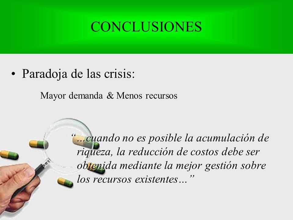 Paradoja de las crisis:Paradoja de las crisis: Mayor demanda & Menos recursos …cuando no es posible la acumulación de riqueza, la reducción de costos debe ser obtenida mediante la mejor gestión sobre los recursos existentes… CONCLUSIONES