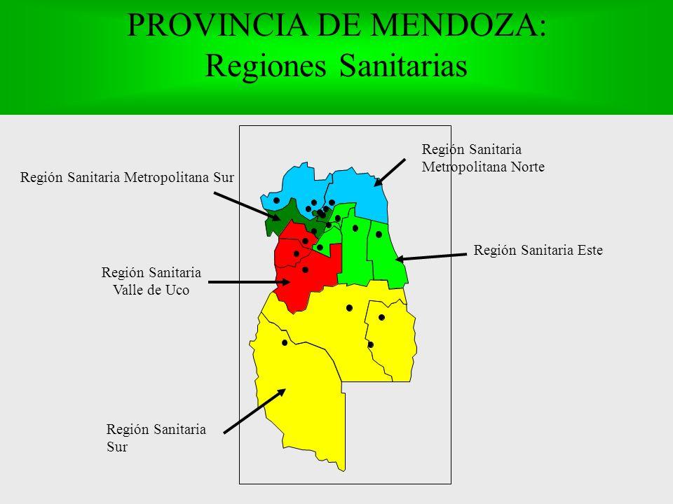 PROVINCIA DE MENDOZA: Regiones Sanitarias Región Sanitaria Valle de Uco Región Sanitaria Este Región Sanitaria Sur Región Sanitaria Metropolitana Norte Región Sanitaria Metropolitana Sur