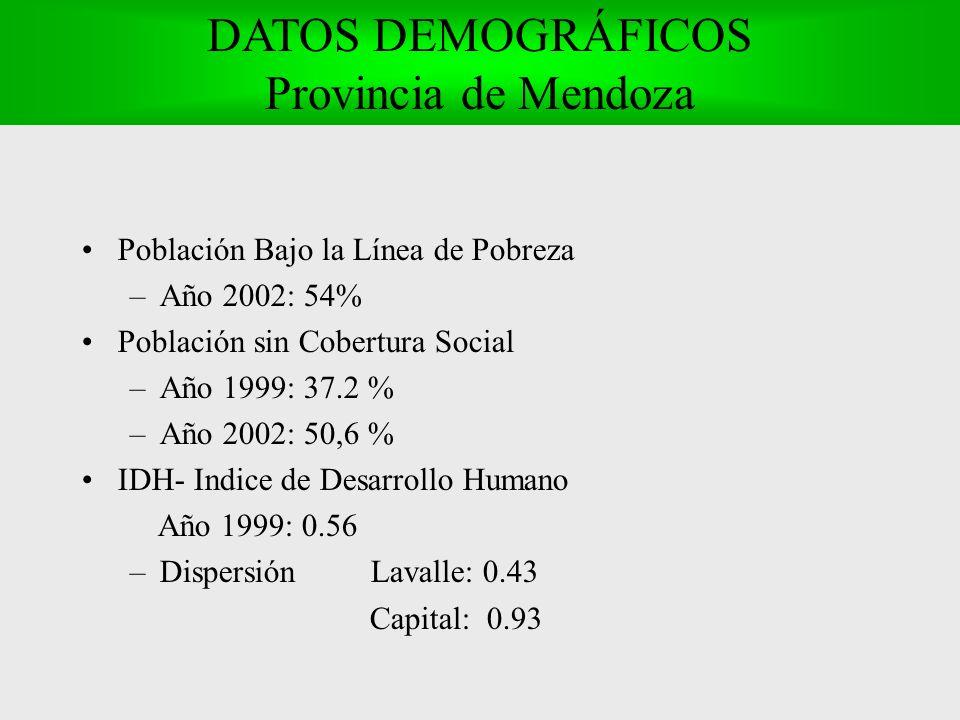 Población Bajo la Línea de Pobreza –Año 2002: 54% Población sin Cobertura Social –Año 1999: 37.2 % –Año 2002: 50,6 % IDH- Indice de Desarrollo Humano Año 1999: 0.56 –Dispersión Lavalle: 0.43 Capital: 0.93 DATOS DEMOGRÁFICOS Provincia de Mendoza