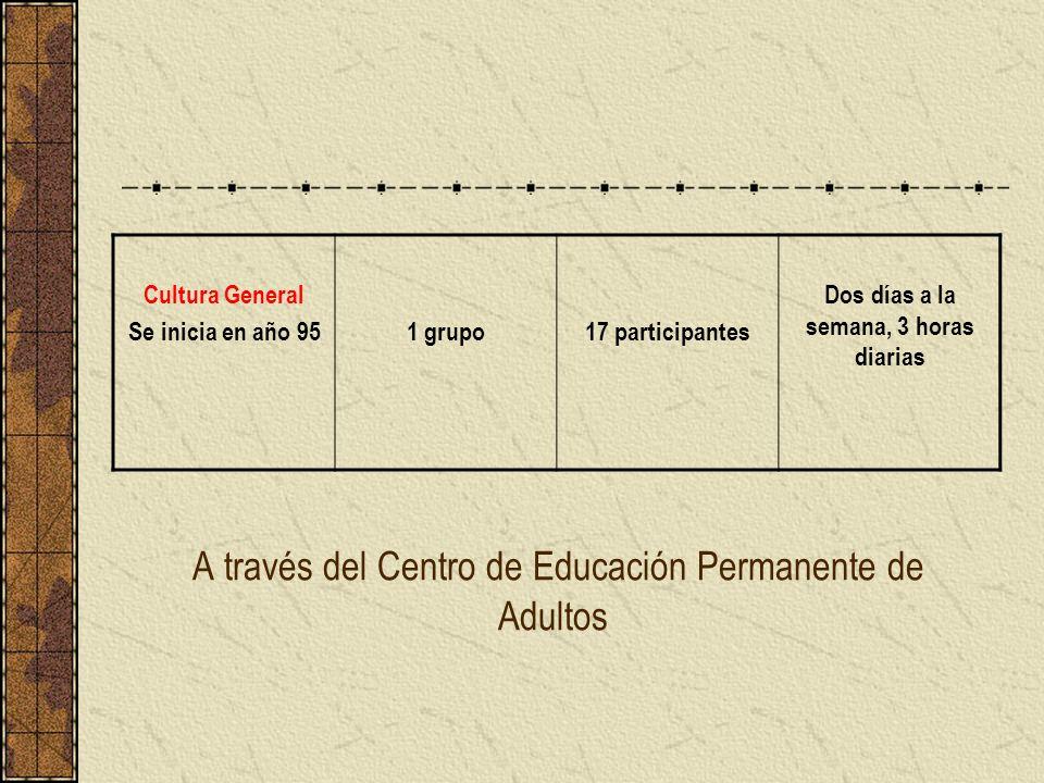 A través del Centro de Educación Permanente de Adultos Cultura General Se inicia en año 951 grupo17 participantes Dos días a la semana, 3 horas diaria