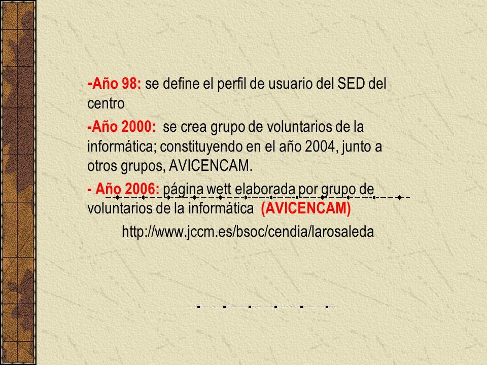 - Año 98: se define el perfil de usuario del SED del centro -Año 2000: se crea grupo de voluntarios de la informática; constituyendo en el año 2004, j