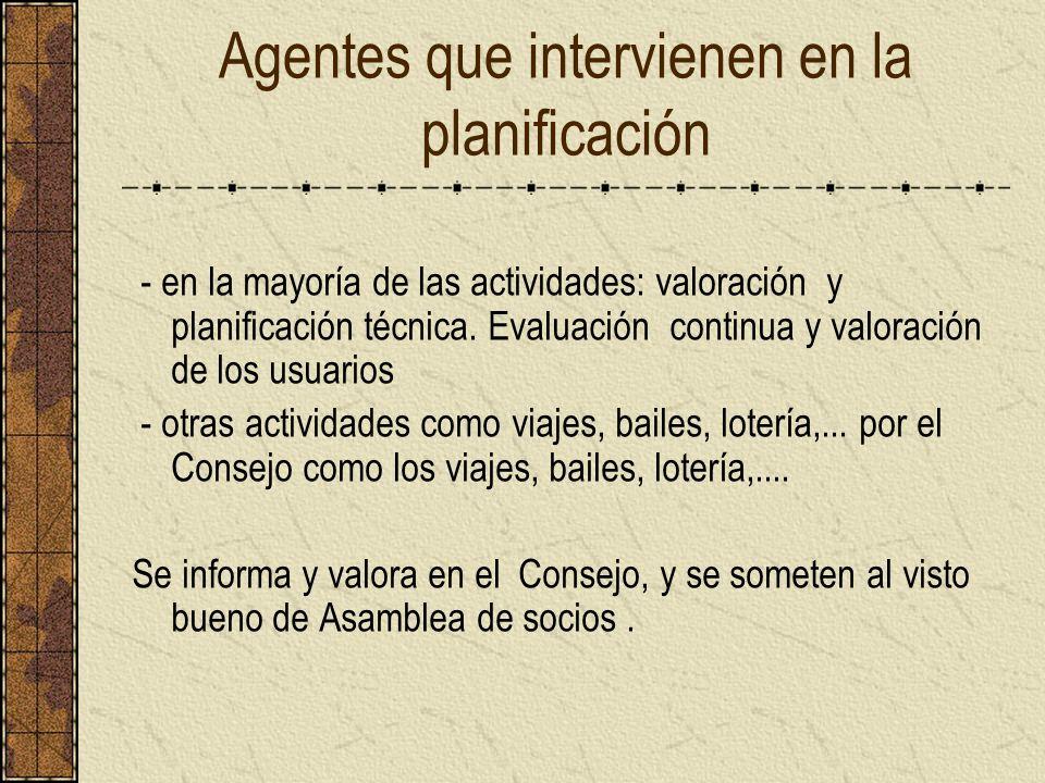 Agentes que intervienen en la planificación - en la mayoría de las actividades: valoración y planificación técnica. Evaluación continua y valoración d