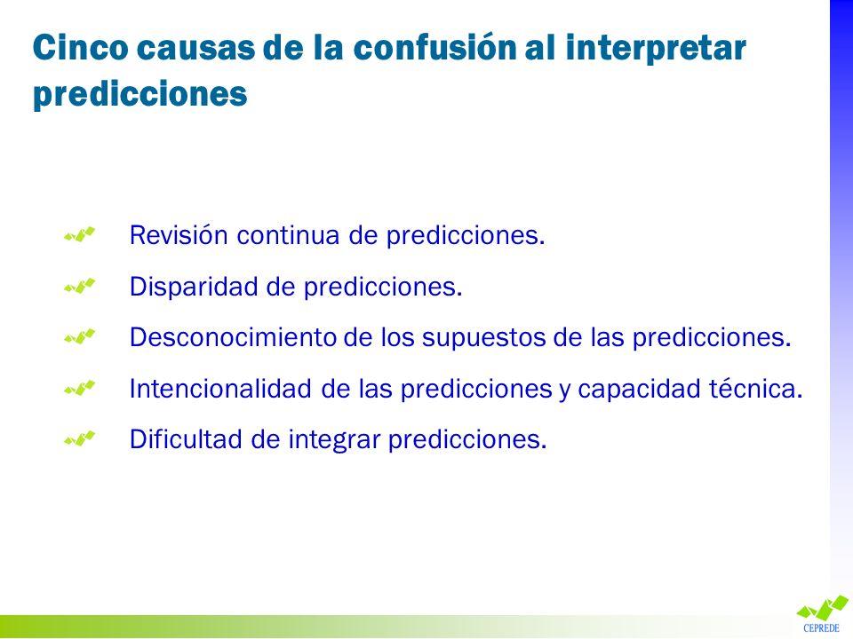 Revisión continua de predicciones. Disparidad de predicciones. Desconocimiento de los supuestos de las predicciones. Intencionalidad de las prediccion