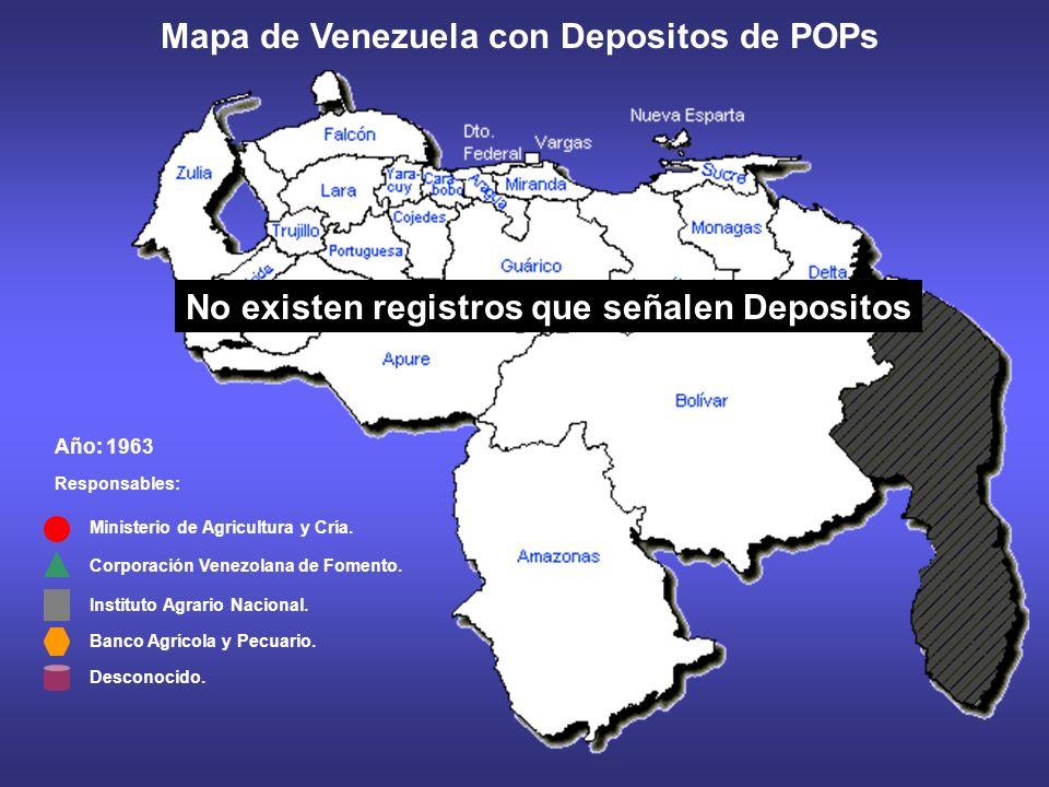 Año: 1962 Responsables: Ministerio de Agricultura y Cría. Corporación Venezolana de Fomento. Mapa de Venezuela con Depositos de POPs Instituto Agrario