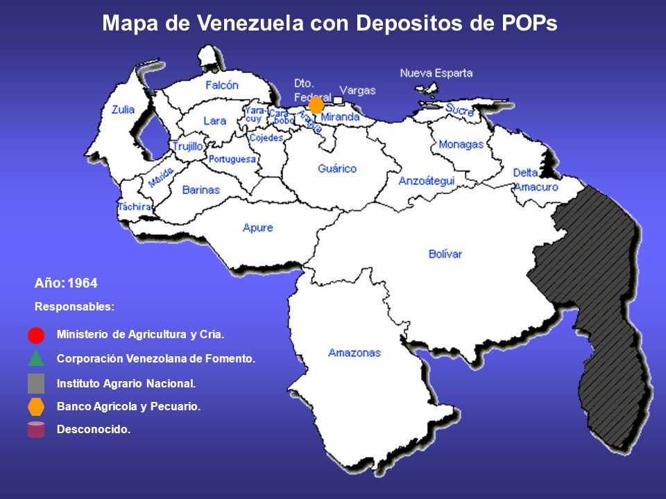 Año: 1963 Responsables: Ministerio de Agricultura y Cría. Corporación Venezolana de Fomento. Mapa de Venezuela con Depositos de POPs Instituto Agrario