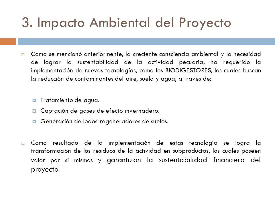 3. Impacto Ambiental del Proyecto Como se mencionó anteriormente, la creciente consciencia ambiental y la necesidad de lograr la sustentabilidad de la
