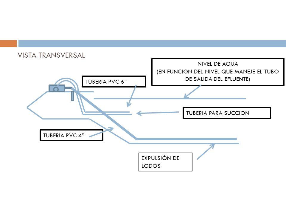 VISTA TRANSVERSAL NIVEL DE AGUA (EN FUNCION DEL NIVEL QUE MANEJE EL TUBO DE SALIDA DEL EFLUENTE) TUBERIA PARA SUCCION EXPULSIÓN DE LODOS TUBERIA PVC 4