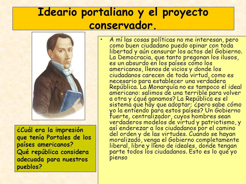 Ideario portaliano y el proyecto conservador. A mí las cosas políticas no me interesan, pero como buen ciudadano puedo opinar con toda libertad y aún