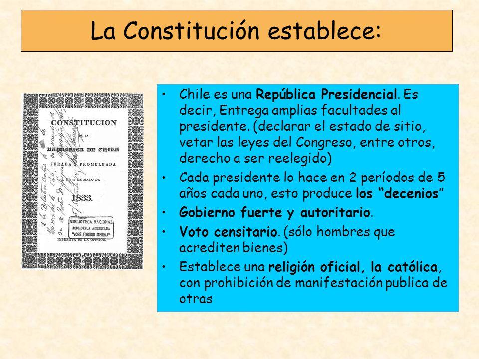 La Constitución establece: Chile es una República Presidencial. Es decir, Entrega amplias facultades al presidente. (declarar el estado de sitio, veta