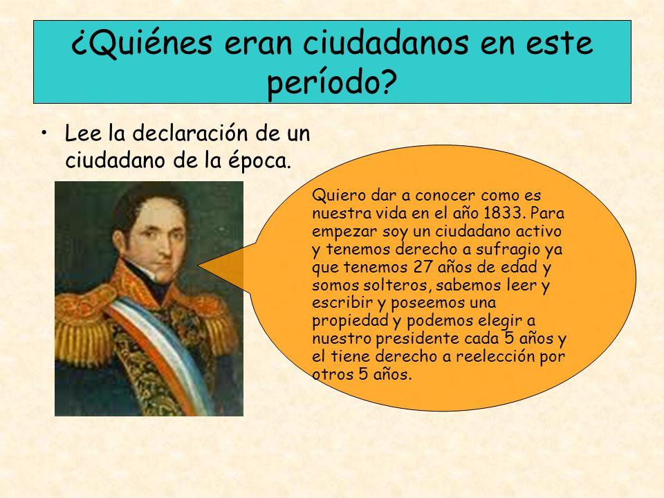 ¿Quiénes eran ciudadanos en este período? Lee la declaración de un ciudadano de la época. Quiero dar a conocer como es nuestra vida en el año 1833. Pa