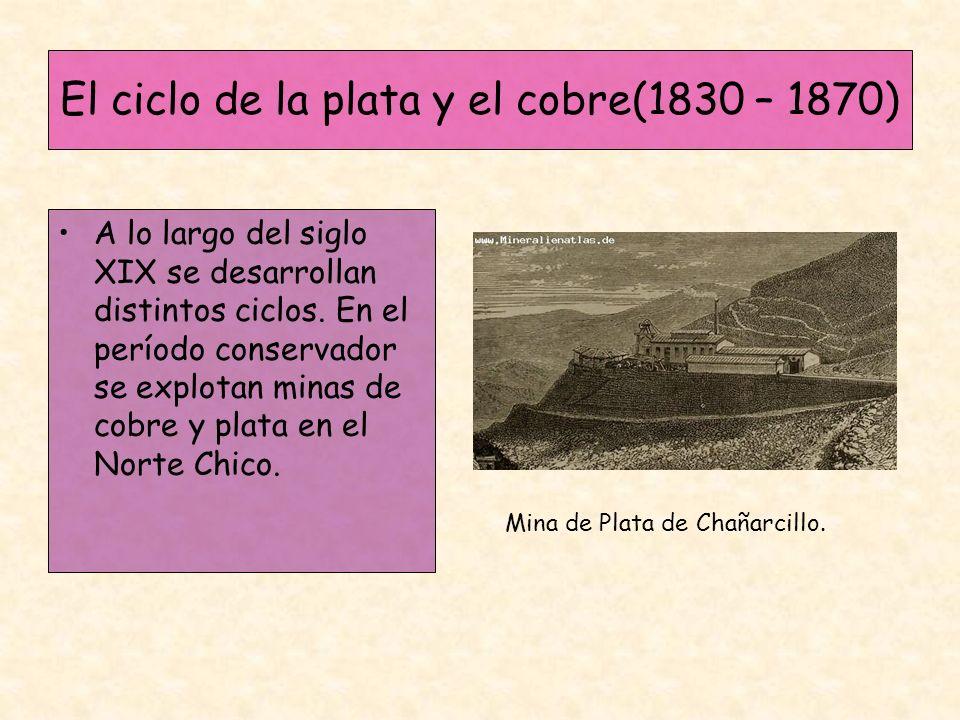 El ciclo de la plata y el cobre(1830 – 1870) A lo largo del siglo XIX se desarrollan distintos ciclos. En el período conservador se explotan minas de
