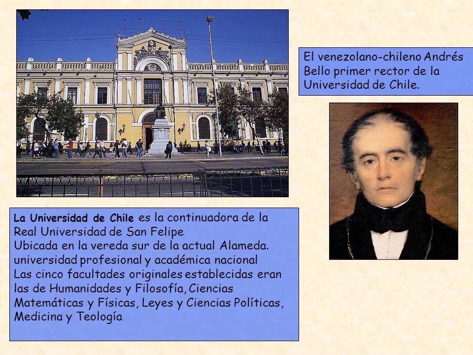 La Universidad de Chile es la continuadora de la Real Universidad de San Felipe Ubicada en la vereda sur de la actual Alameda. universidad profesional