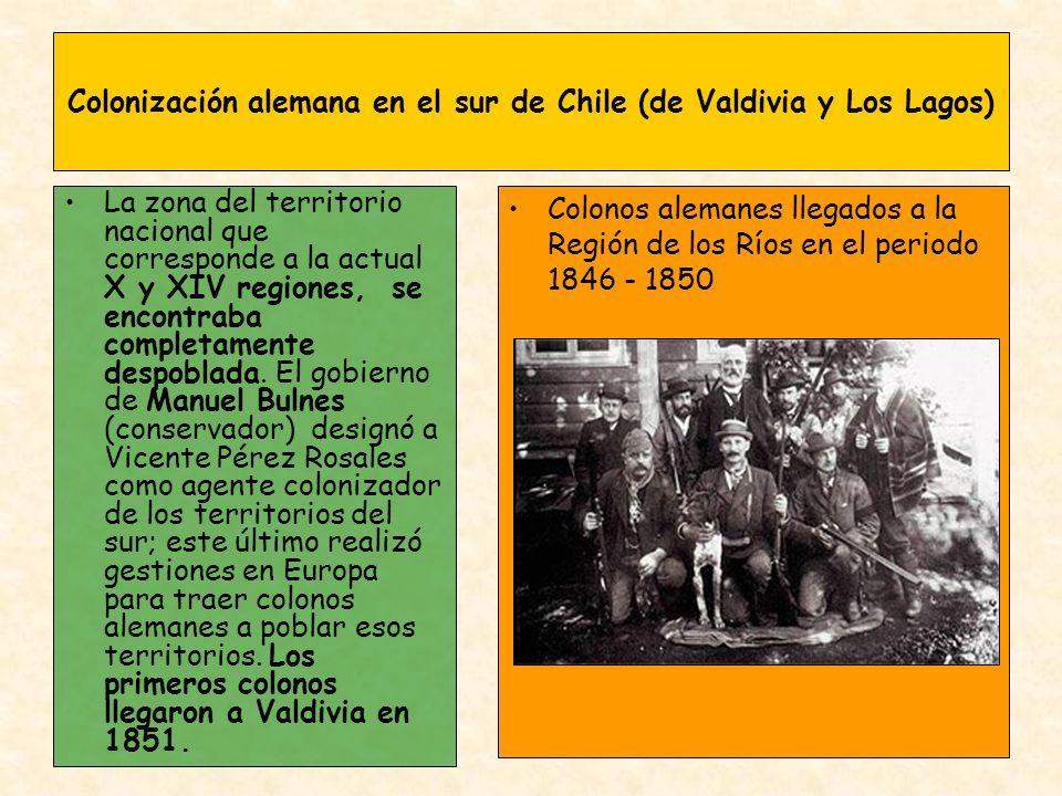 Colonización alemana en el sur de Chile (de Valdivia y Los Lagos) La zona del territorio nacional que corresponde a la actual X y XIV regiones, se enc
