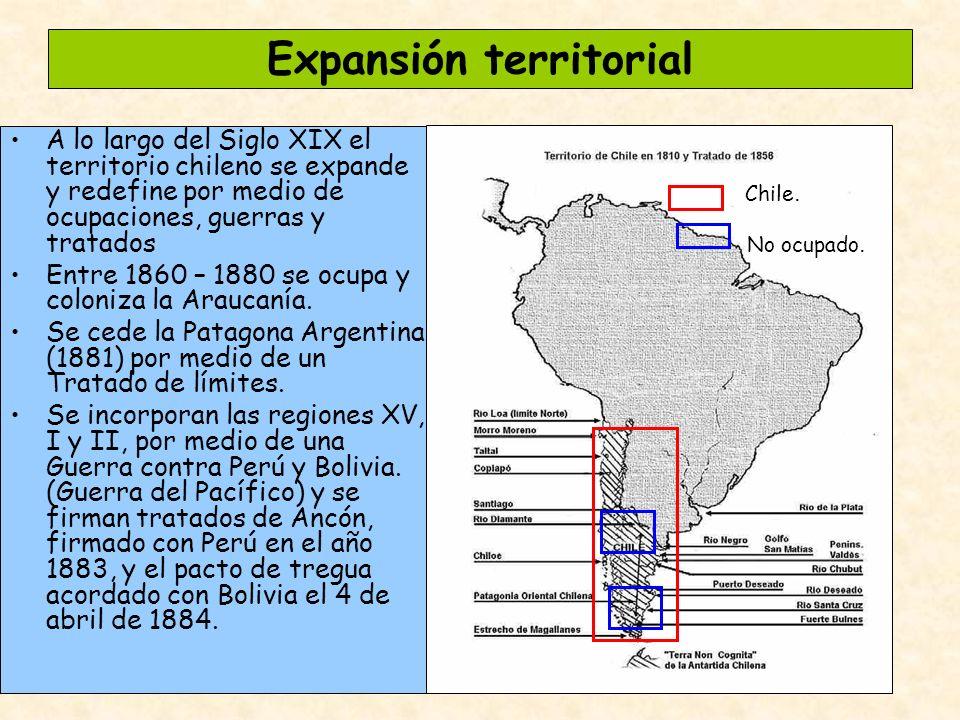 Expansión territorial A lo largo del Siglo XIX el territorio chileno se expande y redefine por medio de ocupaciones, guerras y tratados Entre 1860 – 1